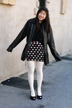 black heart print skirt - black leather jacket