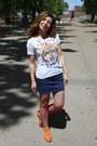 Navy-h-m-skirt-white-jennyfer-t-shirt