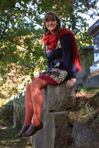 blue dress - orange Target tights - brown Deichmann shoes - red scarf