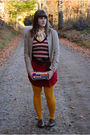 Red-urban-outfitters-dress-white-naf-naf-blouse-beige-urban-outfitters-blaze