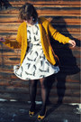 White-dress-brown-vintage-purse-gold-heels-gold-cardigan