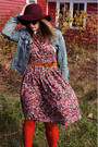 Maroon-thrifted-dress-blue-h-m-jacket-crimson-forever-21-hat-tawny-belt-