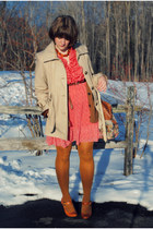 red dress - tan jacket - tan bag - tawny heels - brown cardigan