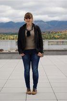 blue Gap jeans - brown Bass shoes - beige sweater - gray JCrew blazer