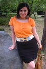 Orange-shirt-black-skirt-burp-dragon-fly-brown-terranova-purse-blue-sc