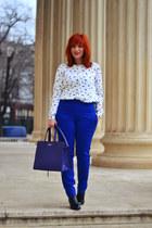 black romwe boots - white Mango cardigan - blue pants