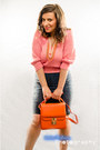 Pink-sweater-carrot-orange-the-bag-shop-bag-blue-vintage-skirt