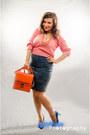 Pink-sweater-carrot-orange-the-bag-shop-bag-blue-vintage-skirt