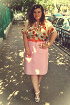 orange belt - light pink thrifted skirt - white OASAP sandals
