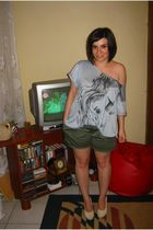 Mango top - beige shoes - khaki shorts Bershka - turquoise ring