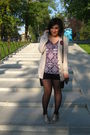 Beige-primark-cardigan-black-terranova-shorts-purple-terranova-top-black-t