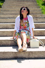 Hot-pink-fashion-union-dress-white-cardigan-gold-onecklace-necklace