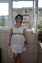 white dress - - - white top - beige shorts