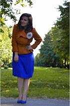 orange jacket - blue shoes - blue dress - white accessories