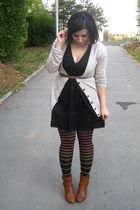 beige Primark cardigan - black dress - golden point tights - brown Leonardo boot