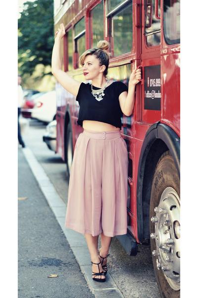 black DressLink necklace - light pink shein pants - black Steve Madden sandals