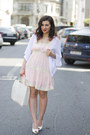 Light-pink-dress-white-cardigan