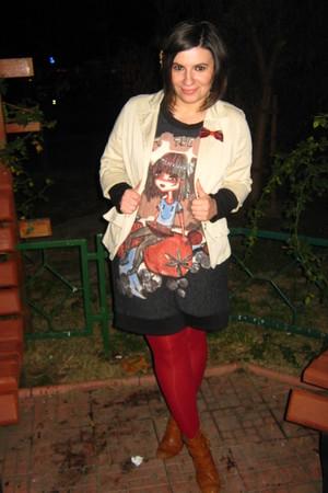 beige blazer - ruby red tights - dress - brown boots - brick red -