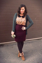 magenta Second Hand Store skirt - bronze Yesstyle boots
