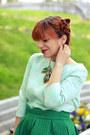 Green-choies-skirt-aquamarine-casa-de-moda-fancy-top-blue-heels