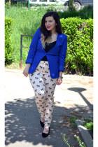black shoes - blue blazer - neutral pants