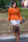 Orange-jacket-gray-georgia-dress-brown-leonardo-boots-gray-moa-purse-gre