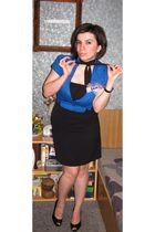 blue blazer - black dress - black shoes - black - - burp