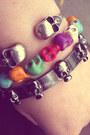 Silver-nine-west-shoes-navy-vintage-blazer-black-skirt-estarer-bracelet