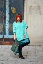 green Front Row Shop skirt - black Filty boots - aquamarine Zara sweater