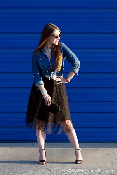 Zara skirt - chambray kohls shirt - beaded vintage purse