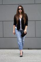 black sequins Forever 21 blazer - beaded clutch vintage purse