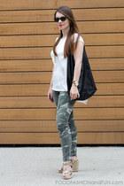 silky t-shirt Forever 21 blouse - black leather Mango bag