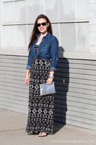 print Forever 21 dress - denim kohls shirt - silver H&M bag