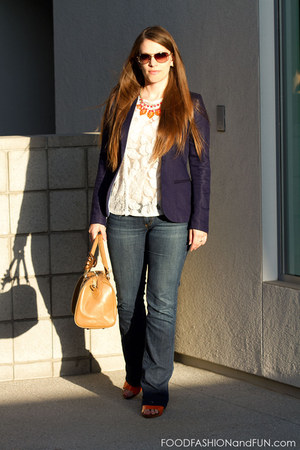lace kohls top - denim AG Jeans jeans - blue hm blazer