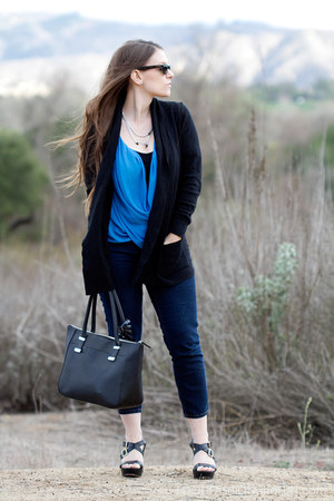 blue Zara blouse - cropped Forever 21 jeans