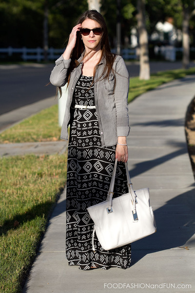 white Target belt - black and white Forever21 dress - grey denim H&M shirt