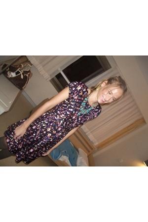 Maje dress - vintage necklace - hoss tights - Louis Vuitton purse - vintage earr