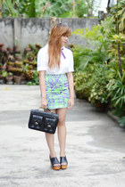 chartreuse Motel Rocks skirt - white peterpan collar OASAP shirt