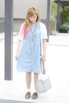 blue denim loose thrifted dress