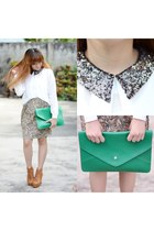 green green clutch OASAP bag - light brown VJ Style boots - white OASAP blouse