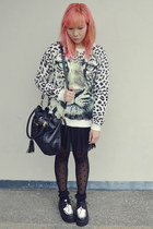 off white white leopard Forever21 sweater - black creepers shoes