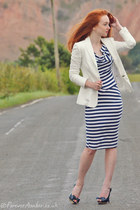 blue Topshop dress - white Zara blazer