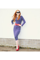 blue Missguided dress - red Office heels