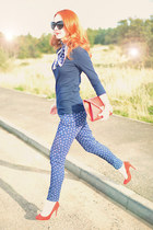 navy Primark pants - red Primark heels