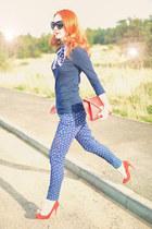 navy Primark pants - red Primark heels