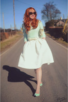 white H&M skirt - green H&M sweater - green Office heels