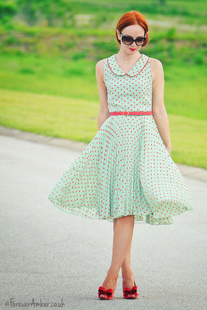 coral ted baker shoes - green Louche dress
