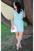 gold DSW sandals - aquamarine JCPenney dress - ivory Payless bag