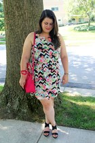 hot pink Target dress - hot pink kate spade bag - black Chicwish sunglasses