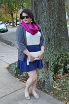 Target scarf - kohls blazer - Charming Charlie bag - Old Navy skirt - Macys top